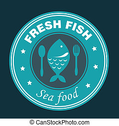 sea food design over black background vector illustration