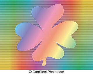 hologram with four-leaf shamrock - four-leaf shamrock over...