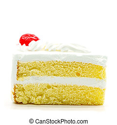 cake slice isolated - Slice of delicious cake isolated on...