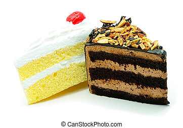 cake slice isolated - Slice of duo delicious cake isolated...