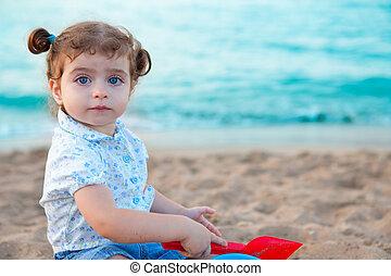 ojos, morena,  blu, arena, niña, pequeñín, playa, juego
