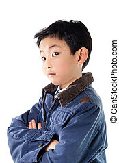Asian Boy in Blue Jacket Posing - Asian boy in blue jacket...