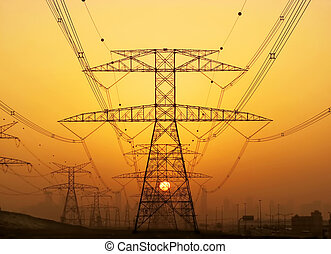 High voltage power lines, during beautiful sunset