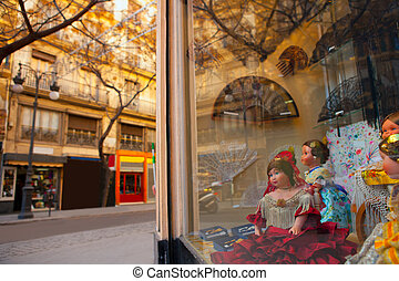 Valencia Calle san Vicente with Falleras dolls and spanish...