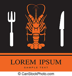 Lobster, Fork and Knife icon, restaurant sign