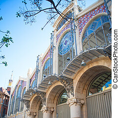 Valencia Mercado Central market facade in spain - Valencia...