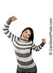 Extremely happy woman - Portrait of beautiful happy...