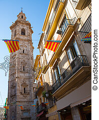 Valencia Santa Catalina church tower from Calle la Paz -...