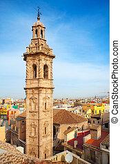 Santa Catalina church tower in Valencia historic downtown...