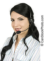 Call center operator beautiful woman with headset ready to...