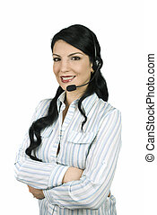 Call center operator - Beautiful woman operator working in a...