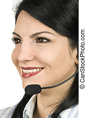 Support operator - Close up of attractive woman face working...