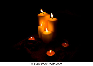 Candle lights - Arrangement with candle lights and petals in...