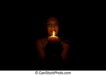 mulher, escuridão, vela, luz