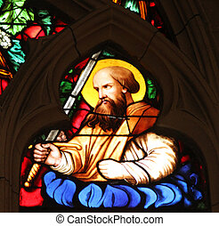 Saint Paul apostle, stained glass window