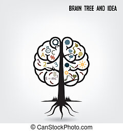Creative brain tree shape sign - Creative brain Idea concept...