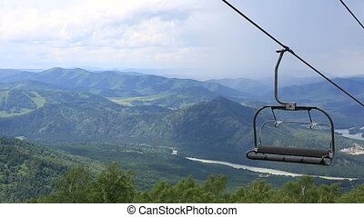 Ski chairlift on Mountain - Ski chairlift on Mount Shallow...