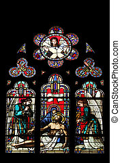 Pieta, stained glass window