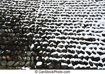 stone wall covered with snow i - stone wall covered with...