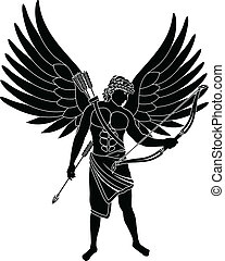 angel stencil second variant vector illustration
