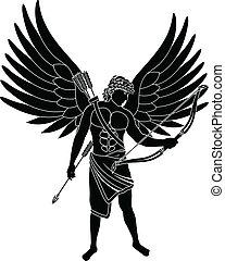 angel. stencil. second variant. vector illustration