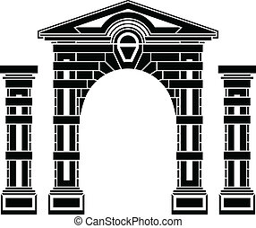 fantasy arch and columns stencil eighth vector illustration...