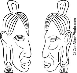sketches of indians. vector illustration