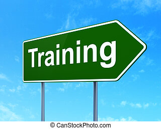 Education concept: Training on road sign background