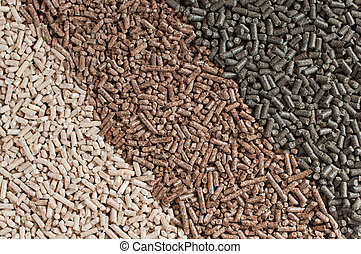 Pellets- biomass - Three  kind of pellets in a row