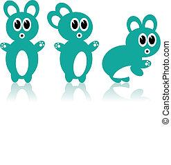 Three aqua rabbits