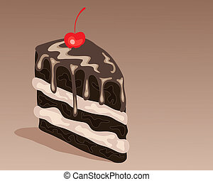 chocolate cake slice - an illustration of a slice of...