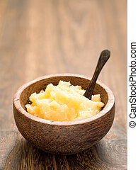 rustic indian ghee - close up of a bowl of indian ghee