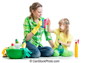 mother and kid clean room having fun - kid and mother clean...