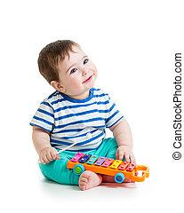 baby, Musikalisches, nett, spielende, Spielzeuge
