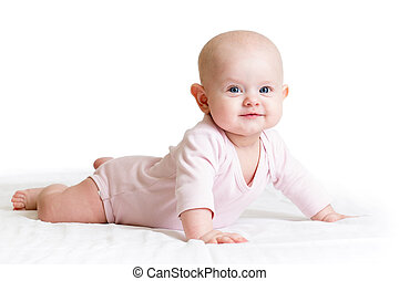 little girl lying on her tummy - baby girl lying on her...