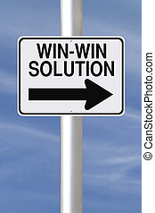 Win-Win Solution - A modified one way road sign indicating...
