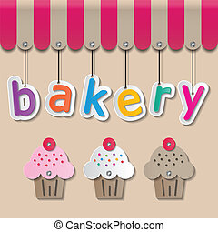 bakery shopfront sign - colorful paper bakery signs on brown...