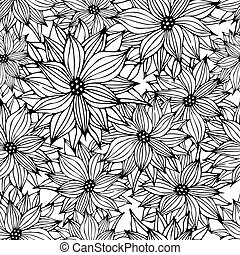 Seamless Floral Background - Seamless Floral White Black...