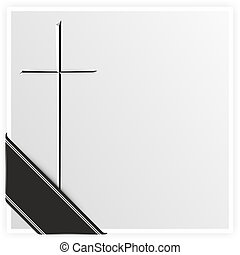 grief - template with cross and black ribbon for obituary