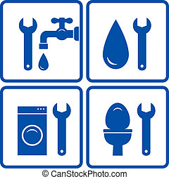 ensemble, plomberie, signes