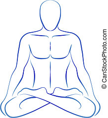 Meditation Yoga Position - Illustration of a meditating...