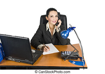 Business woman on the phone calling for business while write...