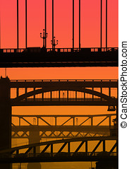 Newcastle bridges - Telephoto view of NewcastleGateshead...
