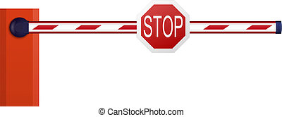 Automatic barrier on white background
