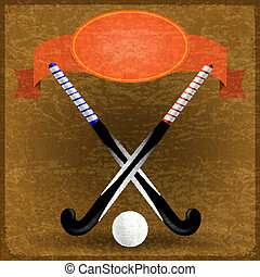Old paper background with sticks for field hockey