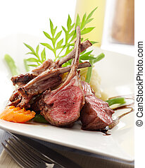 lamb rack - delicious rack of lamb, shallow depth of field