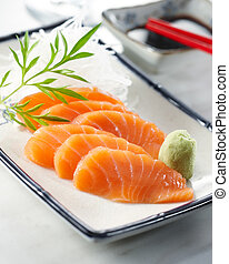 sake sashimi - delicious sake sashimi, shallow depth of...