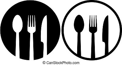sign with spoon, fork and knife - two restaurant sign with...