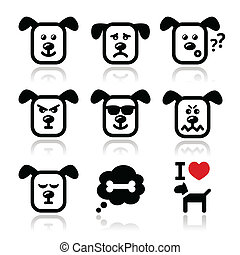Dog icons set - happy, sad, angry - Vector icons set of cute...