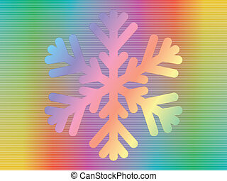 hologram with snowflake - snowflake over spectrum background
